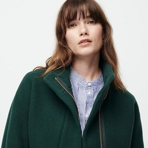 J.Crew forest green Cocoon Stadium wool topcoat